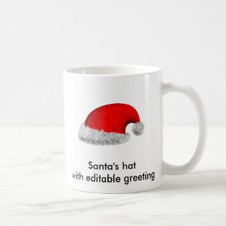 Santa's hat with editable greeting mugs