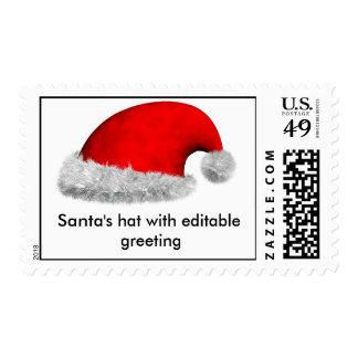 Santa's hat with editable greeting postage stamp