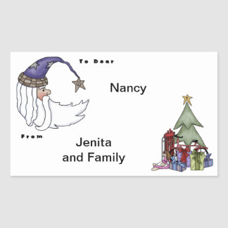 Santas Head Rectangular Sticker