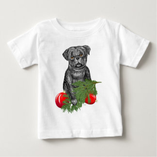 Santa's Helper   Black Pug Puppy Baby T-Shirt