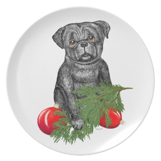Santa's Helper   Black Pug Puppy Dinner Plate