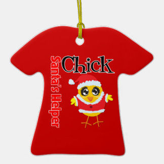 Santa's Helper Chick Double-Sided T-Shirt Ceramic Christmas Ornament