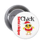 Santa's Helper Chick Pinback Button