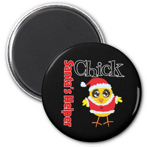 Santa's Helper Chick Refrigerator Magnet