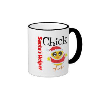 Santa's Helper Chick Ringer Coffee Mug