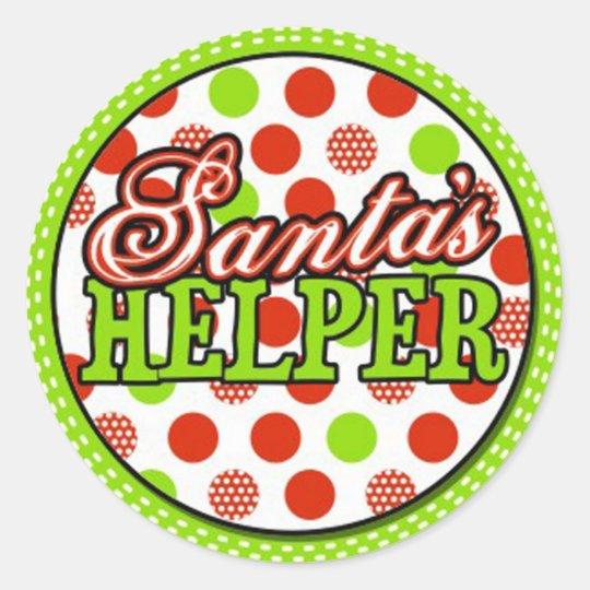 santas helper classic round sticker