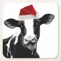 Santa's Helper Cow with Funny Red Hat Square Paper Coaster