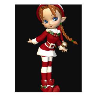 Santas Helper Cute Toon Xmas Elf Girl Postcard