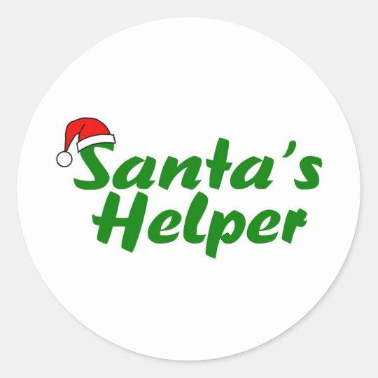 Santas Helper Green Classic Round Sticker