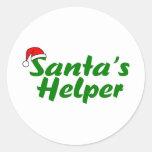 Santas Helper Green Round Sticker