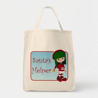 Santa's Helper Holiday Cute Elf Tote Bag