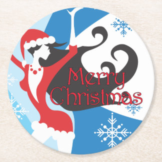 Santa's Helper - Merry Christmas Round Paper Coaster