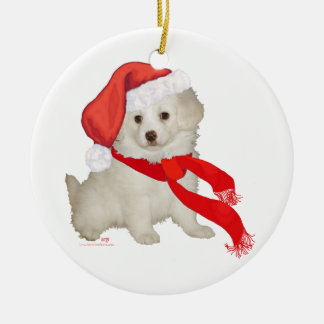 Santa's Helper Puppy Poodle / Bichon Mix Double-Sided Ceramic Round Christmas Ornament