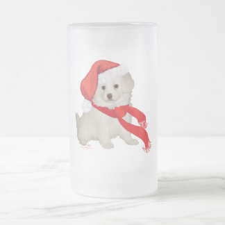 Santa's Helper Puppy Poodle / Bichon Mix Frosted Glass Beer Mug