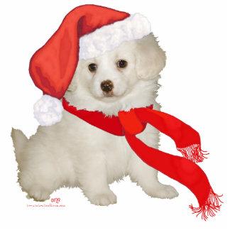 Santa's Helper Puppy Poodle / Bichon Mix Standing Photo Sculpture