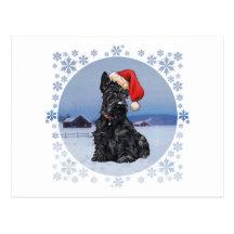 Santa's Helper Scottish Terrier Postcards