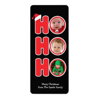 Santas Ho Ho Ho Christmas Personalized Photo 4x9.25 Paper Invitation Card