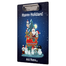 Santa's Holiday Party By The Christmas Tree Clipboard