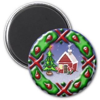 Santas Home 2 Inch Round Magnet