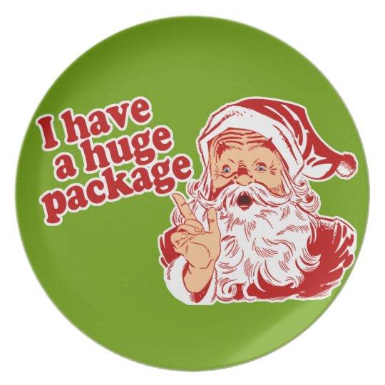 Santas Huge Package Melamine Plate