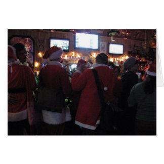 Santas in a bar card