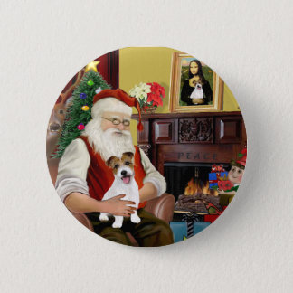 Santa's Jack Russell Terrier PUP Button