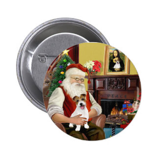 Santa's Jack Russell Terrier PUP Pinback Button