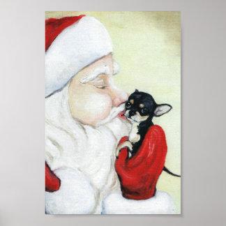 Santa's Kiss for Chihuahua art Print