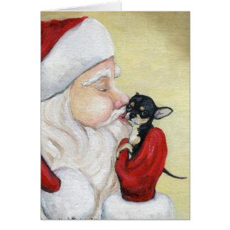"""""""Santa's Kiss for Chihuahua"""" Dog Art Greeting Card"""