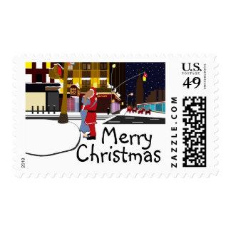 Santa's Kiss On Broadway Christmas Postage Stamps