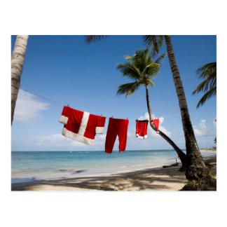 Santa's Laundry On Beach Postcard