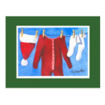 Santa's Laundry Washline Postcard