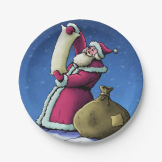 santa's list christmas holiday illustration paper plate