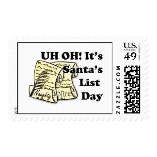 Santa's List Day Postage Stamp