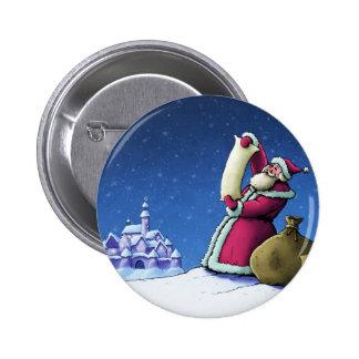 santa's list happy holiday illustration pinback buttons