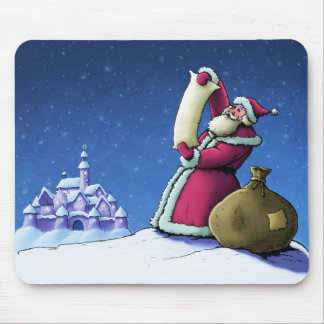 santa's list happy holiday illustration mouse pad