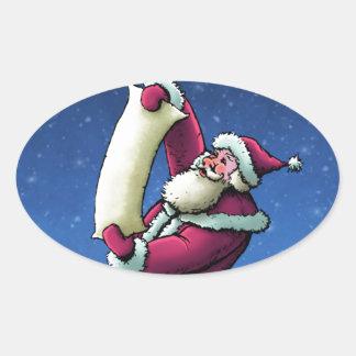 santa's list happy holiday illustration oval sticker