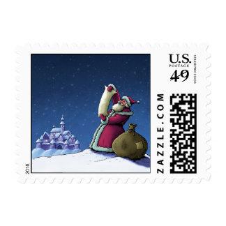santa's list happy holiday illustration postage stamps
