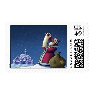 santa's list happy holiday illustration postage