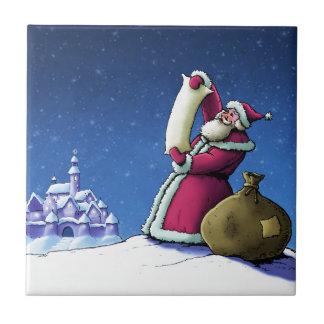santa's list happy holiday illustration ceramic tile