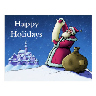 santa's list happy holidays postcard