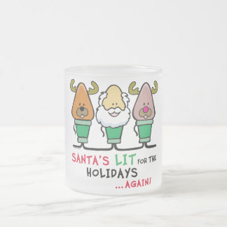 Santa's Lit for the Holidays Frosted Glass Coffee Mug