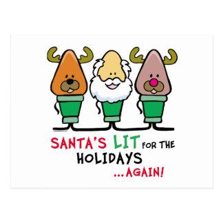 Santa's Lit for the Holidays Postcard