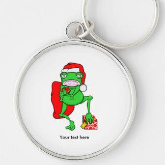 Santas Little Amphipian Helper Funny Frog Keychain
