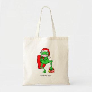 Santas Little Amphipian Helper Funny Frog Tote Bag