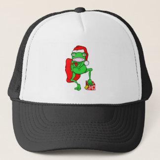 Santas Little Amphipian Helper Funny Frog Trucker Hat