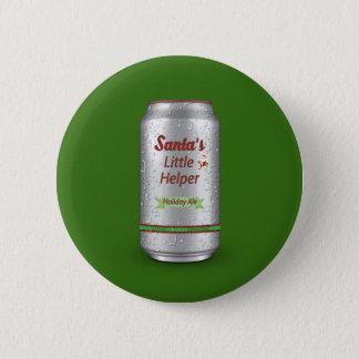 Santa's Little Helper Beer Can Pinback Button
