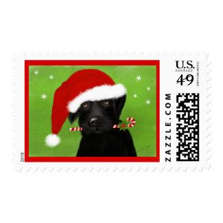 Santa's Little Helper Black Labrador Christmas Stamp