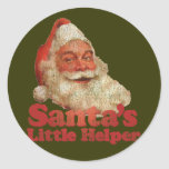 Santa's Little Helper Classic Round Sticker