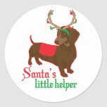 santas little helper classic round sticker